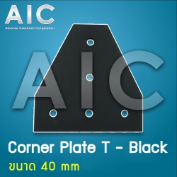Corner Plate T - 40 mm Black - Pack 2