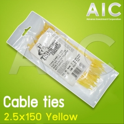 Cable ties 2.5x150 Yellow Pack 50